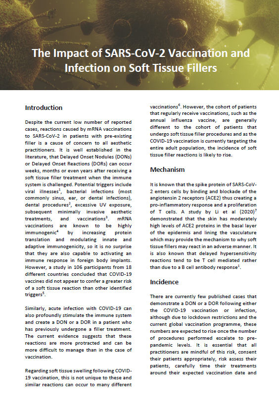 The Impact of SARS-CoV-2 Vaccination and Infection on Soft Tissue Fillers